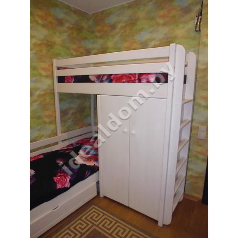 """Двухъярусная угловая кровать """"Домовенок-Микс"""" со шкафом"""