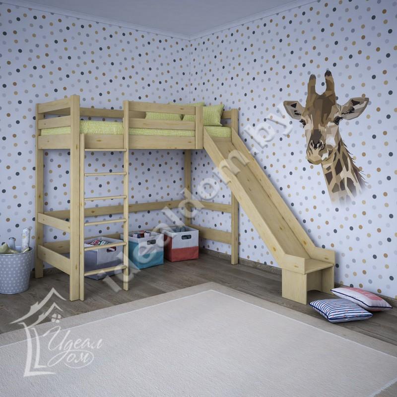 Кровать-чердак «Каламбур» с горкой