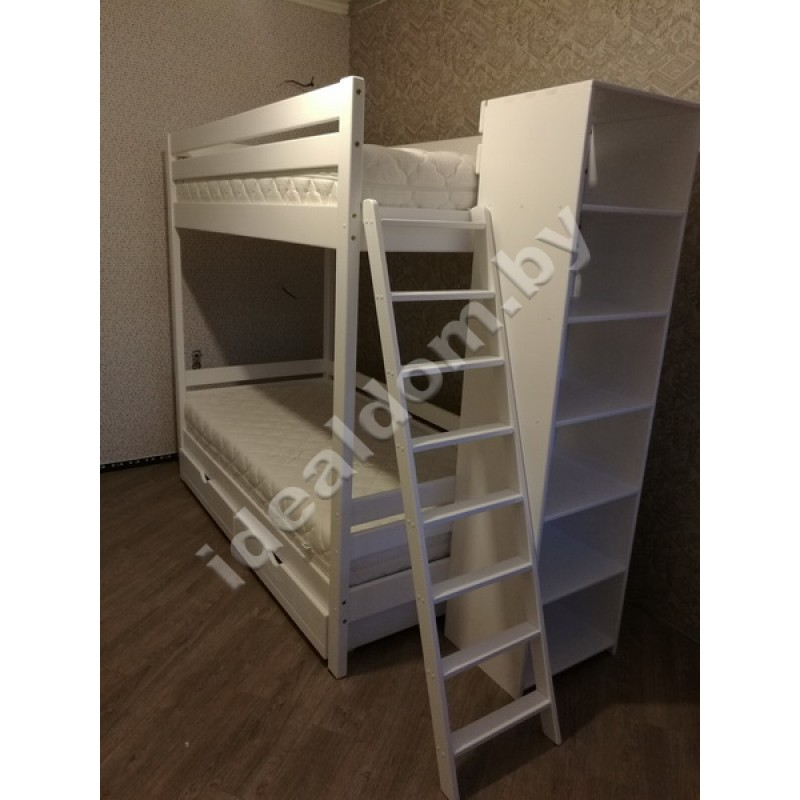 """Двухъярусная кровать """"Эврика-2"""" с узким стеллажом"""
