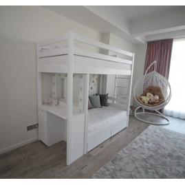"""Двухъярусная кровать """"Кокетка"""" с туалетным столиком"""