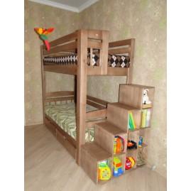 """2-х ярусная кровать """"Клондайк"""" со ступенями-стеллажом"""
