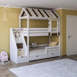 """Двухъярусная кровать со ступенями """"Бастион"""""""
