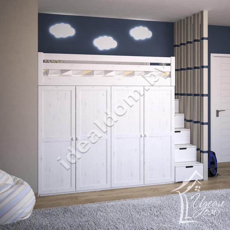 """Кровать-чердак """"Домосед-2"""" со шкафом для одежды"""