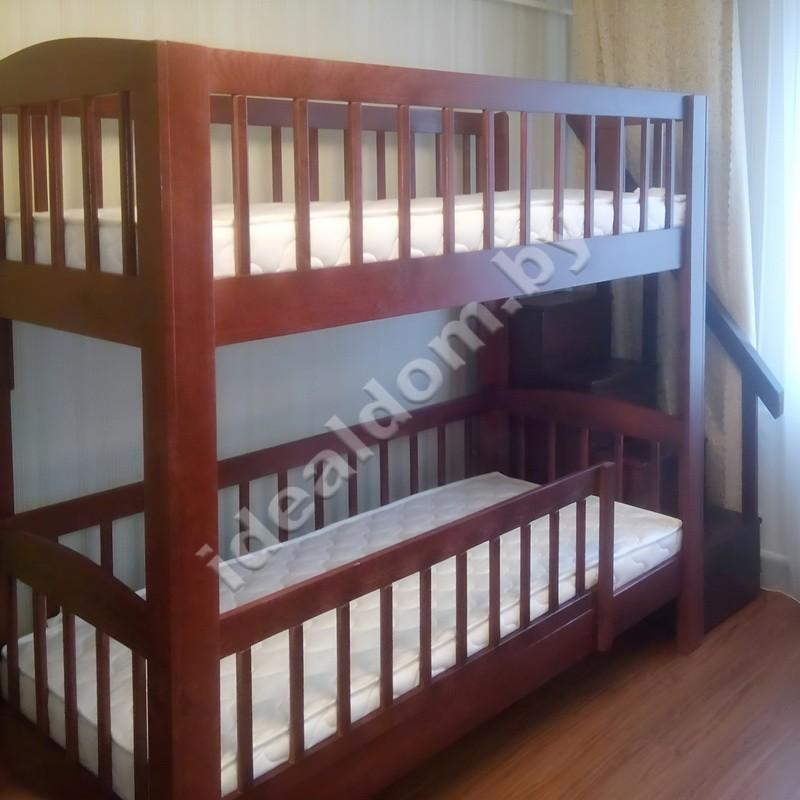 """Двухъярусная кровать """"Легенда-Люкс"""" со ступенями и перилами"""