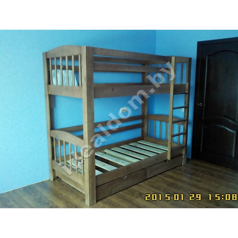 """Двухъярусная кровать """"Геркулес"""" с телескопическими ящиками"""