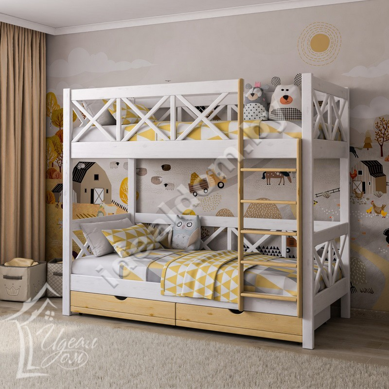 """Двухъярусная кровать из дерева """"Прованс"""" с ящиками"""