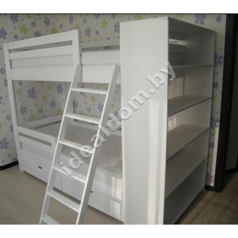 """Двухъярусная кровать """"Эврика"""" со стеллажом и ящиками"""