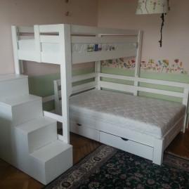 """Угловая кровать """"Домовенок-Макси"""" на три спальных места"""