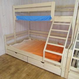 """Кровать трёхспальная """"Тетрис-Зигзаг"""" с наклонной лестницей"""