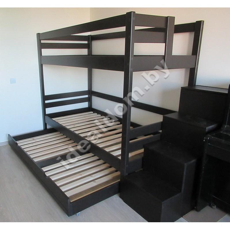 """Двухъярусная кровать """"Силач"""" с выдвижным ярусом и ступенями"""