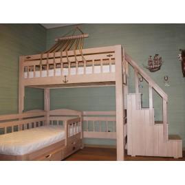 """""""Колумб"""" со ступенями и перилами - 2-х ярусная угловая кровать"""