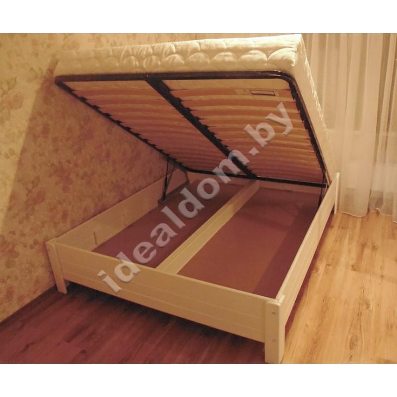 Кровать с подъемным механизмом без изголовья, массив