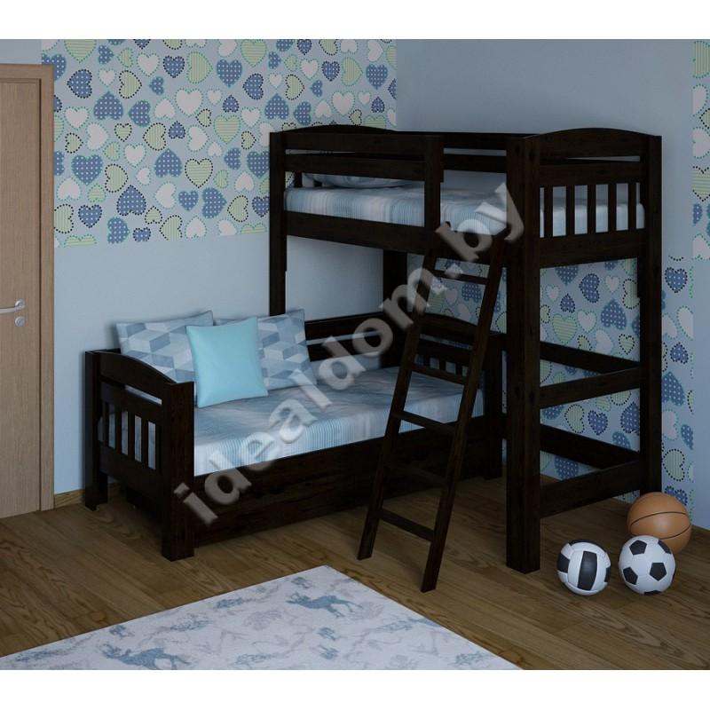 """Угловая кровать """"Домовенок-Люкс"""" со съемной лестницей"""