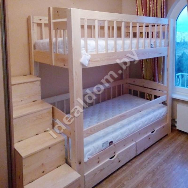 """Двухъярусная кровать """"Колизей-Люкс"""" со ступеньками"""